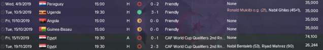 Algeria Fixtures