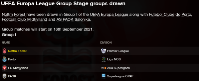Europa League Group Stage Draw